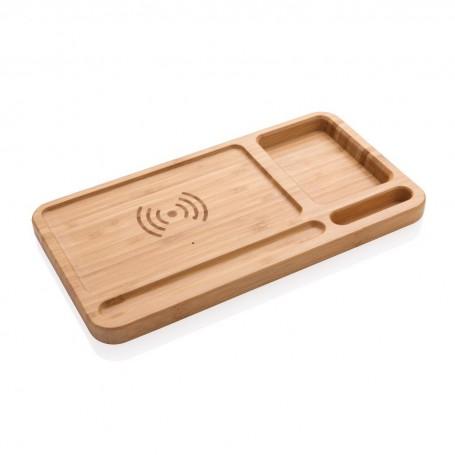 Bamboo desk organizer 5W wireless charger