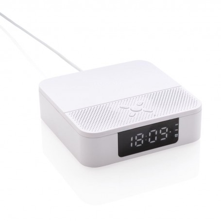 Wireless charging speaker with time display