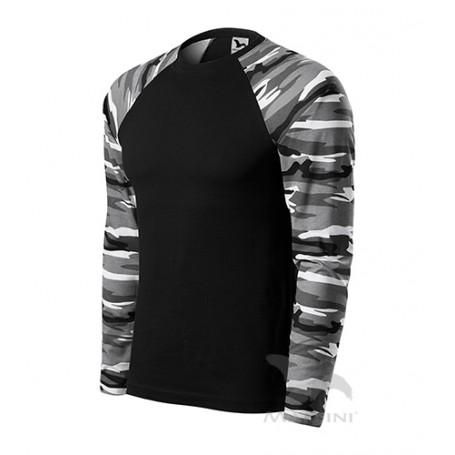 Reklaminiai kamufliažiniai marškinėliai CAMOUFLAGE BLACK/WHITE ilgomis rankovėmis