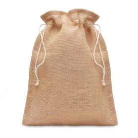 Reklaminiai maži džiuto dovanų pakavimo maišeliai su spauda